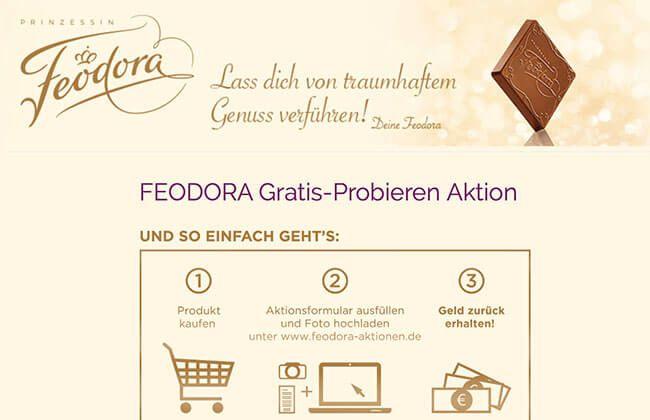Feodora Schokolade Gratis-Probieren Aktion. Mehr Informationen auf Testerschwester.de. (Aktionsende: 15.03.2017)