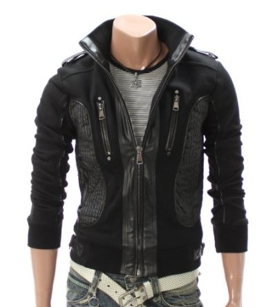 Doublju Mens Casual High neck Leather Patched Jacket