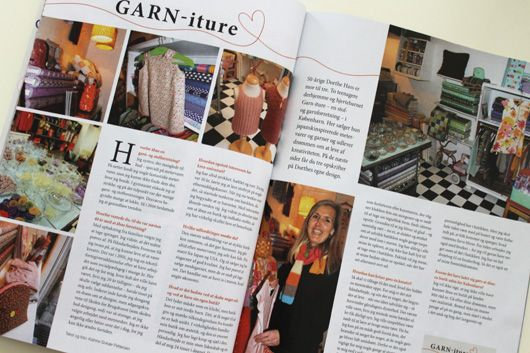 Article about Garn-iture in the magazine Maries Ideer april 2014 with fotos from the shop www.garn-iture.dk