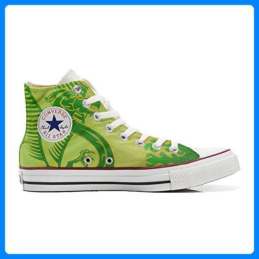 Converse All Star personalisierte Schuhe (Handwerk Produkt) Dragone verde, sfondo giallo - TG46 - Sneakers für frauen (*Partner-Link)