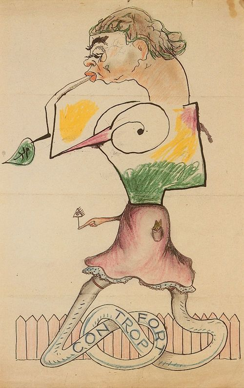"""243. Untitled. """"Cadavre Exquis"""" by Max Morise, Joan Miró, Yves Tanguy, Man Ray  1927 (c.) Pencil, India ink and crayon on paper 36 x 23 cm / 14 1⁄5 x 9 1⁄10""""   Inscribed on the back by André Breton: Morise, Miró, Tanguy, Man Ray."""