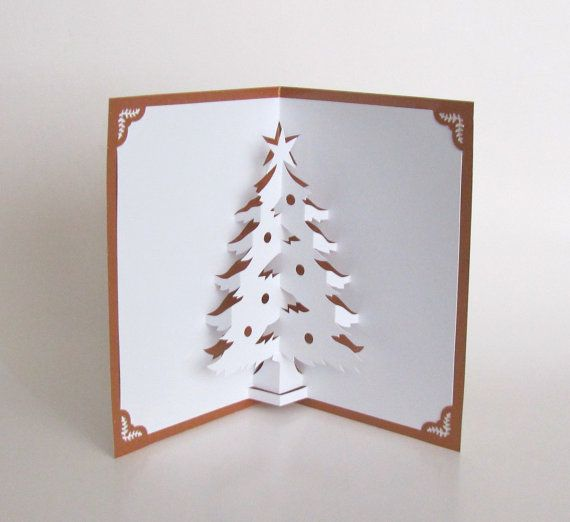 Christmas Tree 3D Pop Up Greeting Card Home Décor Handmade Origamic Architecture in White on Shimmery Metallic Bright Copper One Of A Kind