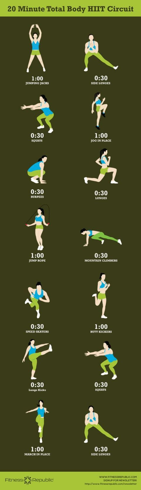 Total Body HIIT Workout Work every part of your body in 20 minutes with this HIIT workout. (We hope you like mountain climbers!)