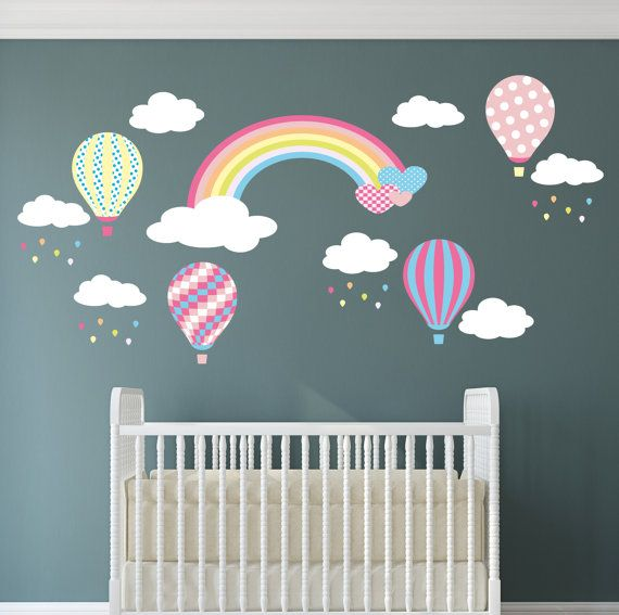 Rainbow baby wall decal hot air balloon wall stickers white clouds and raindrops girls nursery lemon pink and turquoise april showers
