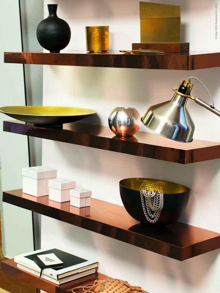 DIY Copper * We have given the shelf LACK a new suit that shines and reminds copper. The shelf becomes a real showpiece using the contact film with copper motif and a little patience. LACK shelf unadorned shape and hidden wall mounts make it a perfect DIY project. Real copper is a versatile material that is used in many different ways, jewelry, pots, coins, tools, and even medicine. Here we have used it to decorate with and make your own fuskig copper shelf. (copper contact paper ~ yep!)