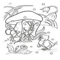 Раскраски по мотивам сказки Теремок - полотенце