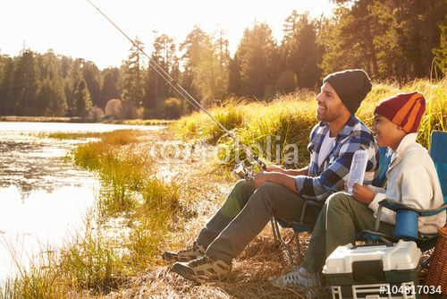 """dad fishing in a lake   Father Teaching Son To Fish By Lake"""" Stock photo and royalty-free ..."""
