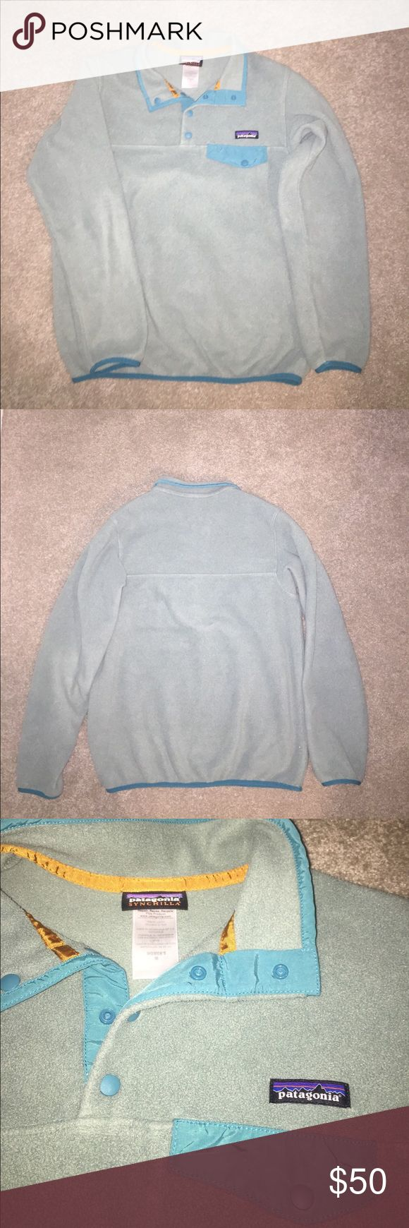 Patagonia Synchilla pullover Patagonia pull over- is greener in person like last picture & in great shape Patagonia Jackets & Coats