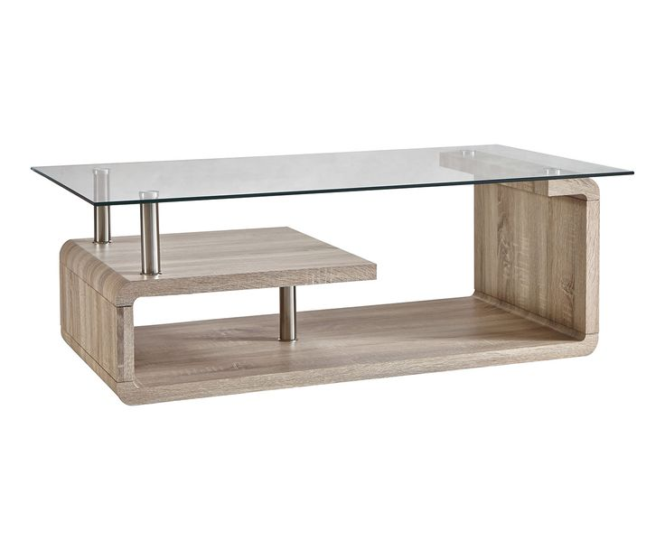 Table basse bois et verre naturel et transparent l120 - Table de salon en bois ...