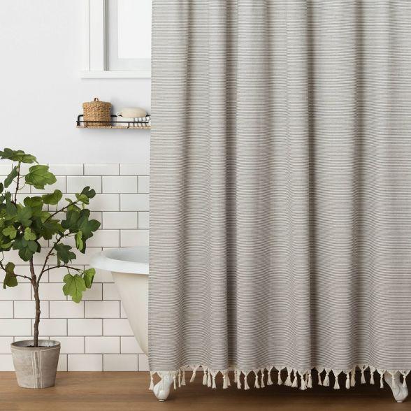 Stripe Shower Curtain Railroad Gray Hearth Hand With Magnolia