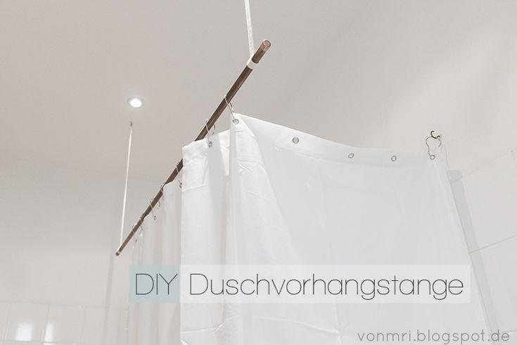 Anleitung für eine hängende Duschvorhangstange aus Kupferrohr für gerade geschnittene Bäder.