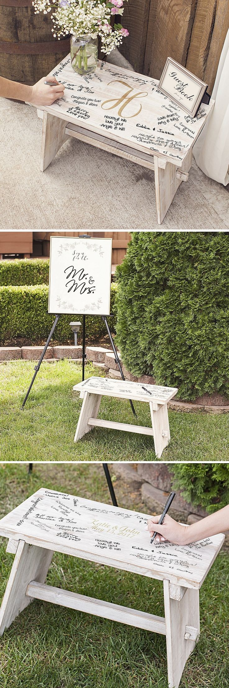 Inspired by an old farmhouse step stool, this decorative rustic antiqued wood step stool personalized with 2 lines of custom print or a large single initial can be used as a guest book stand or as a stand-alone wedding guest book alternative to create a unique and interesting focal point at your rustic country, barn, or farm wedding. This stool can be ordered at http://myweddingreceptionideas.com/personalized-rustic-white-wood-guest-book-bench.asp