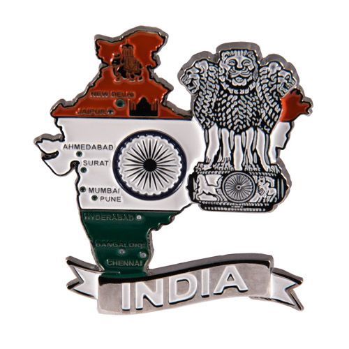 Metal Fridge Magnet: India. Map of India (Chrome Plating and Enamel)