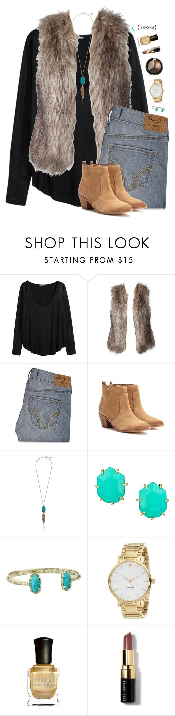 """perfectionist"" by chevron-elephants ❤ liked on Polyvore featuring H&M, Hollister Co., Tory Burch, Kendra Scott, Kate Spade, Deborah Lippmann and Bobbi Brown Cosmetics"