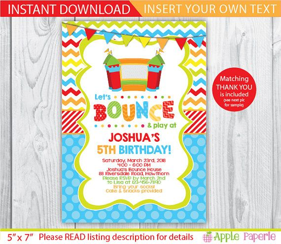 Bounce House invitation / bounce house birthday / by ApplePaperie
