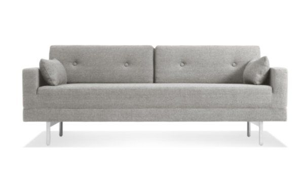 It's a convertible sofa that doesn't look like one, but that's what makes the One Night Stand Convertible Sofa so desirable. Just remove the back cushions and flip the seat forward and voila, instant queen sized mattress! With brushed stainless steel legs in a grey or rust wool fabric blend, this sleeper sofa is ideal for unexpected sleepovers.