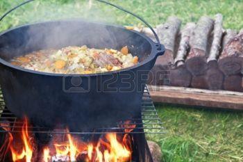 キャンプファイヤー上の食糧ポット photo
