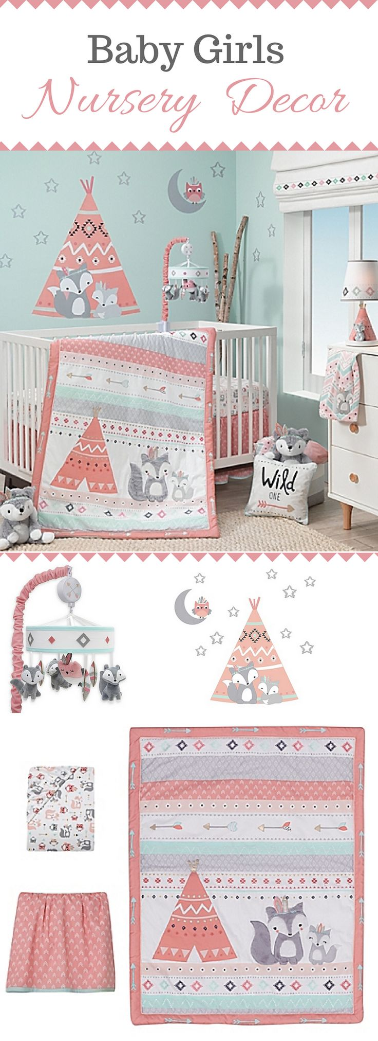 Decorate your baby girls nursery  with the Lambs & Ivy Little Spirit Crib Bedding Collection. This southwestern-inspired collection is adorned with baby foxes, teepees, arrows, and triangles for an engaging scene. #babygirls #nursery #ad