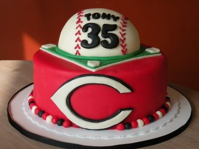 Cincinnati Reds birthday cake By cakechickdani on CakeCentral.com- another idea for Groom cake with some modifications