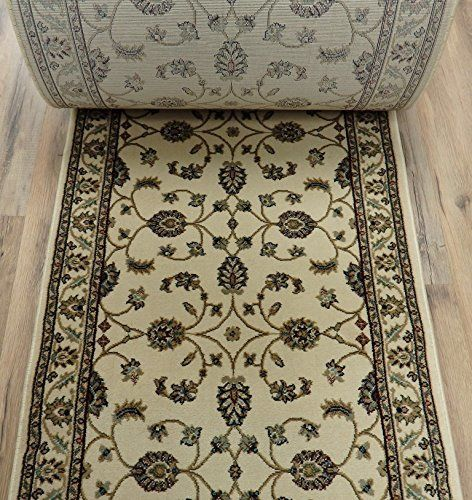 """179485 - Rug Depot Valbella VB-6448 Cream Traditional Hall and Stair Runner - 26"""" Wide Hallway Rug Runner - Cream Background - CARPET RUNNER SOLD BY THE FOOT"""