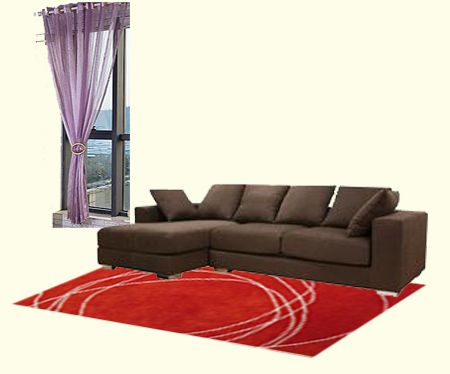 dark brown furniture purple curtain combo