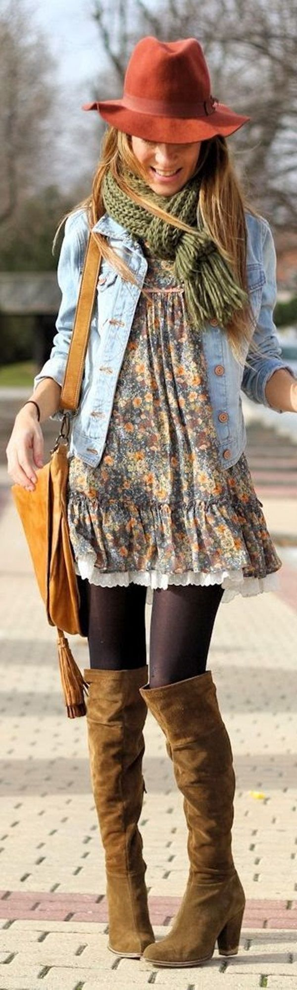 I have a little denim jacket I love to wear in fall. I love this sweet dress, it's just the right balance of hippy/boho without being silly or over the top.