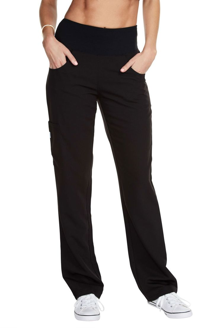 """Unleash your inner Zen with the """"Yogi All Day"""" scrub pant. This functional pant celebrates your hard worked temple with a stylish yet flexible design, truly made to move with you. Our stretch shape enhancing fabric balances the comfort of your favorite yoga pant with the drape of a professional slackFabric: Stretchy woven Polyester/Rayon/ SpandexSignature 4"""" compression waistbandShape enhancing front and rear pocketsSide thigh patch pocket created for maximum utilityMachine Washable / Quick…"""