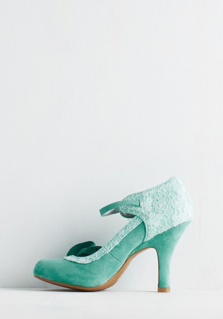 Say It Quaint So Heel. Glide to the podium in these aqua heels and let their vibrance embolden your captivating speech! #mint #prom #wedding #modcloth
