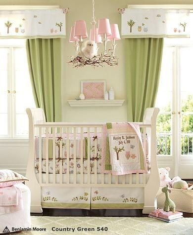 Pink & Green nursery - tan walls & espresso crib and this would be about right...