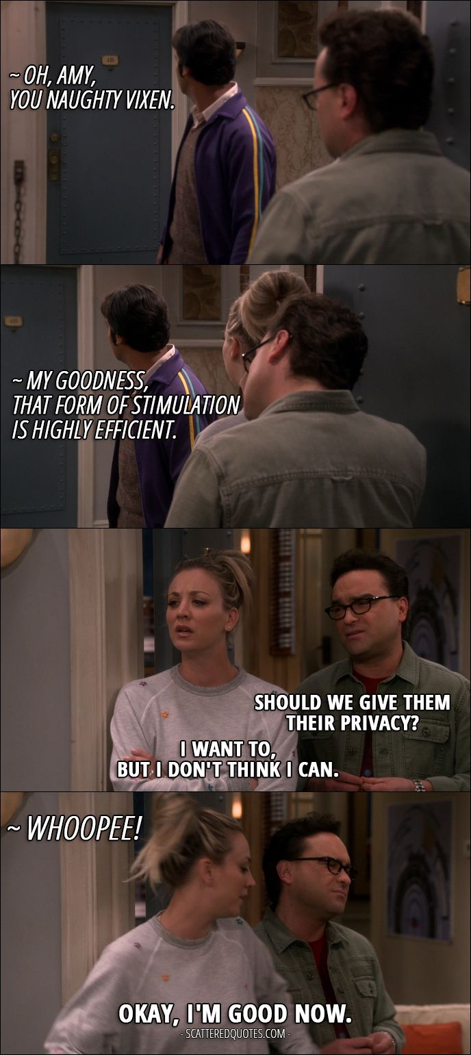 Quote from The Big Bang Theory 10x23 │  Sheldon Cooper: Oh, Amy, you naughty vixen. Amy Farrah Fowler: My goodness, that form of stimulation is highly efficient. Leonard Hofstadter: Should we give them their privacy? Penny Hofstadter: I want to, but I don't think I can. Sheldon Cooper: Whoopee! Penny Hofstadter: Okay, I'm good now.