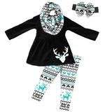 Black Aztec Outfit Teal Deer Scarf Top And Pants – Upon A Bowtique