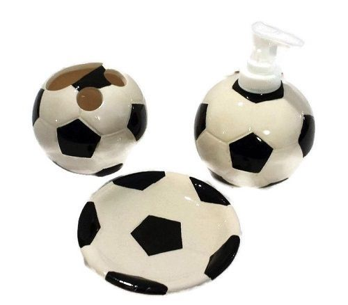 Funny Soap Dispenser Dish Toothbrush Holder Soccer Ball Theme Bathroom Set 3Pc #Unbranded