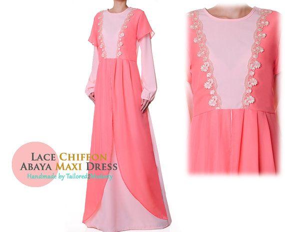 Pale Pink Chiffon Draped Lace Trim Long by Tailored2Modesty
