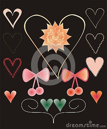 Set of colorful #decorative #heart shapes, #bows and #flower