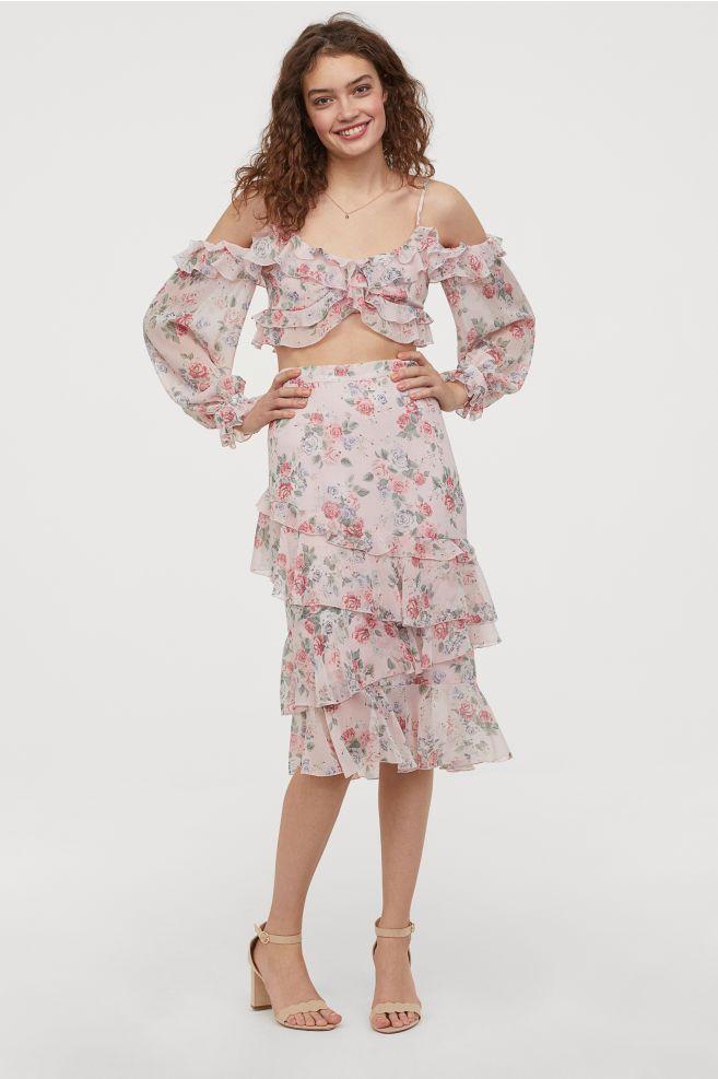 b82a5a2d5d Calf-length flounced skirt - Light pink/Floral - Ladies | H&M ...