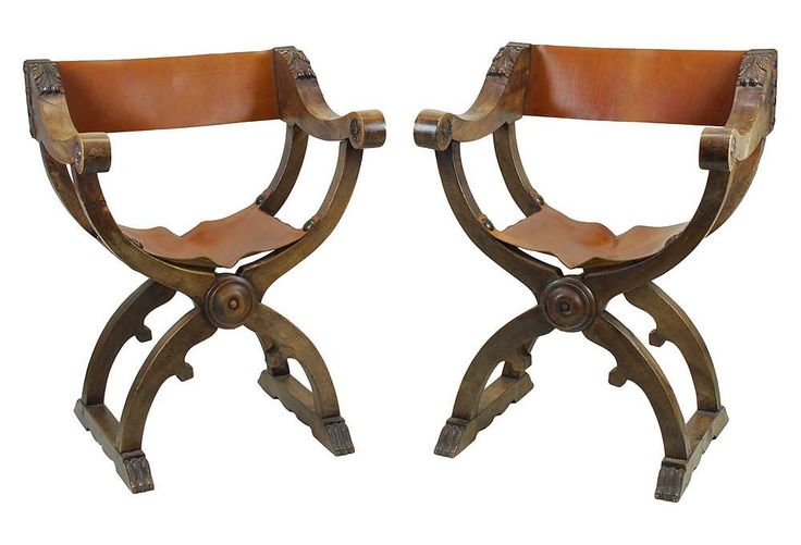 One Kings Lane - Wild Things - 19th-C. Italian Campaign Chairs, Pair