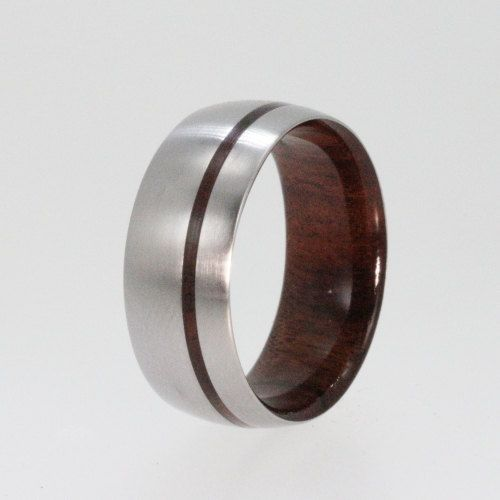 Titanium Ring with an inner Bolivian Rose Wood by jewelrybyjohan
