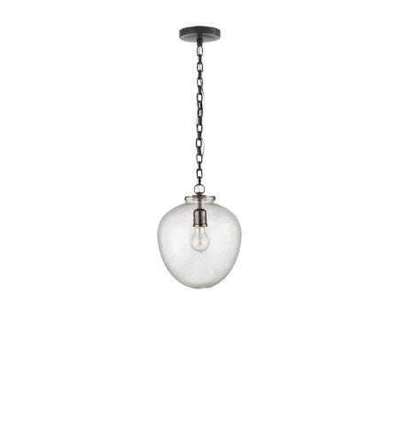 Visual Comfort Thomas OBrien Katie 1 Light Pendant in Bronze with Seeded Glass Shade TOB5226BZ/G2-SG #visualcomfort #lightingnewyork #lighting