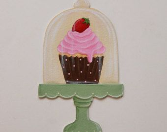 Cupcake decor Cupcake kunst Cupcake wand door ArtofNoCommitment