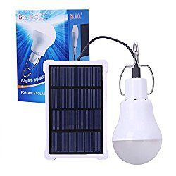 KK.BOL Solar Lamp Portable LED Light Bulb Solar Panel Powered Rechargeable Solar Led Lights Lamp for Home Lighting Indoor Outdoor Emergency Light Hiking Tent Camping Night Work Light (1600mAh 150LM)