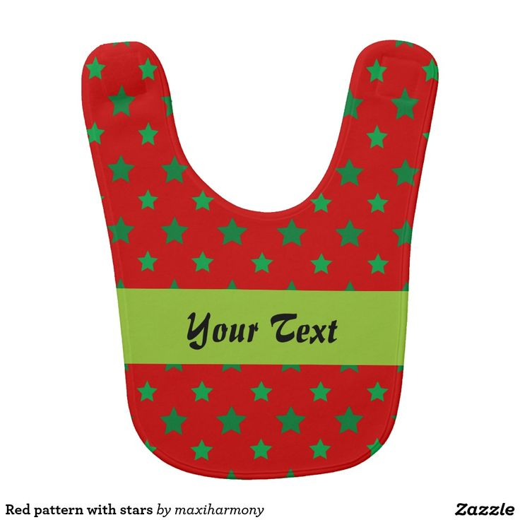 Red pattern with stars bib