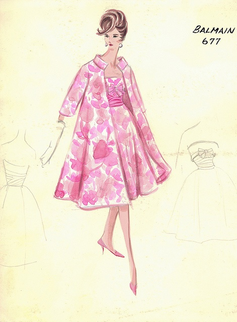 Balmain Haute Couture fashion illustration. Pink printed flower floral fitted three-quarter length coat and a matching strapless dress with self bow at the empire waist underneath. Includes back views in pencil. Bergdorf Goodman 1950s #Collection #Balmain #Fashion