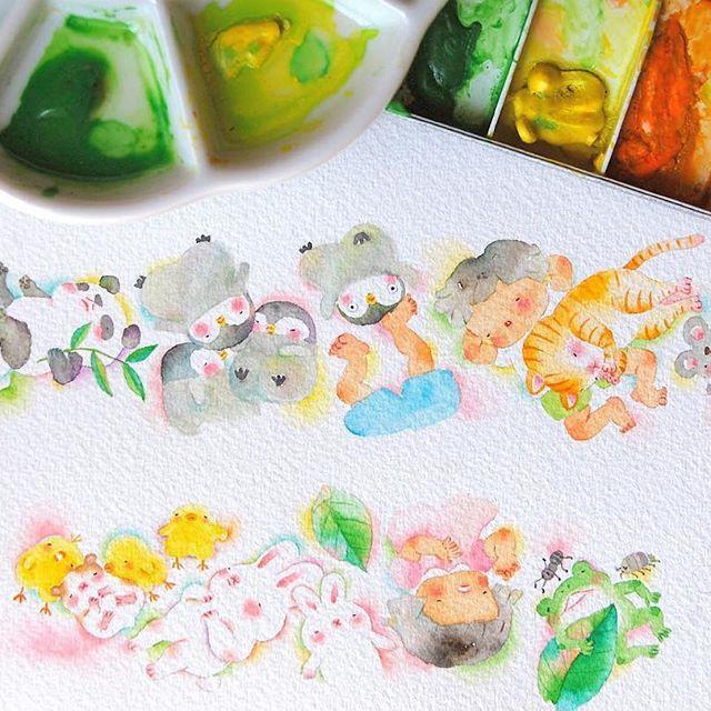 お昼寝その2🐼😴  何を作っているのかなんとなくお判り頂けましたでしょうか?♪  Afternoon sleep part2🐼😴  Can you guess what am I making? It's gonna be surprise♪    #お昼寝 #パンダ #春眠 #なにができるかな #水彩画#イラスト #nap #afternoonsleep #panda #painting #drawing #watercolor