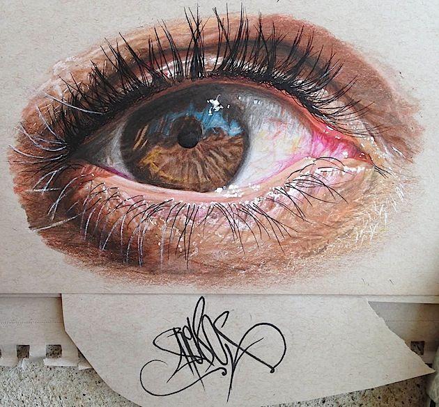 Augen gehören zu den beliebtesten Motiven für bildende Künstler überhaupt. Wir behaupten sogar: Bei der Darstellung des Sehorgans trennt sich die gute Spreu vom überragenden Weizen. Eindeutig zu den Könnern gehört Redosking, ein Graffiti-Künstler aus Texas
