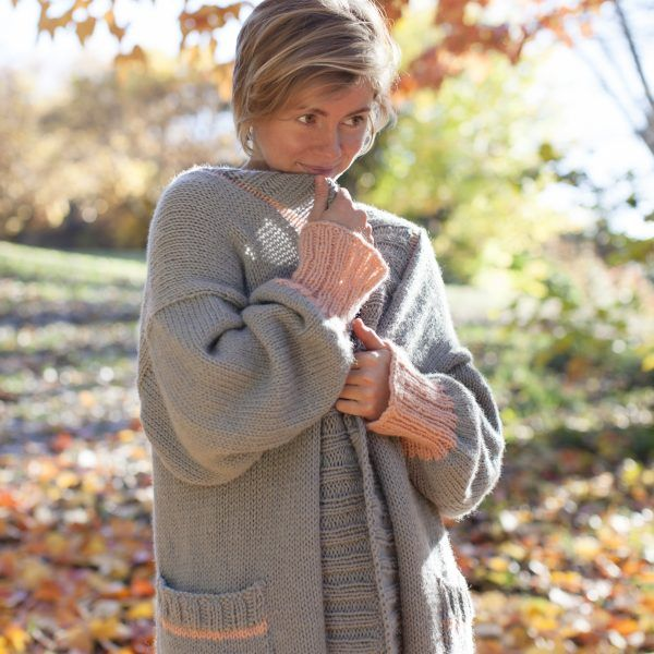 Hello Sunday Cuddle Cardigan knit in Sumptuous by The Woven Perfect Fall sweater