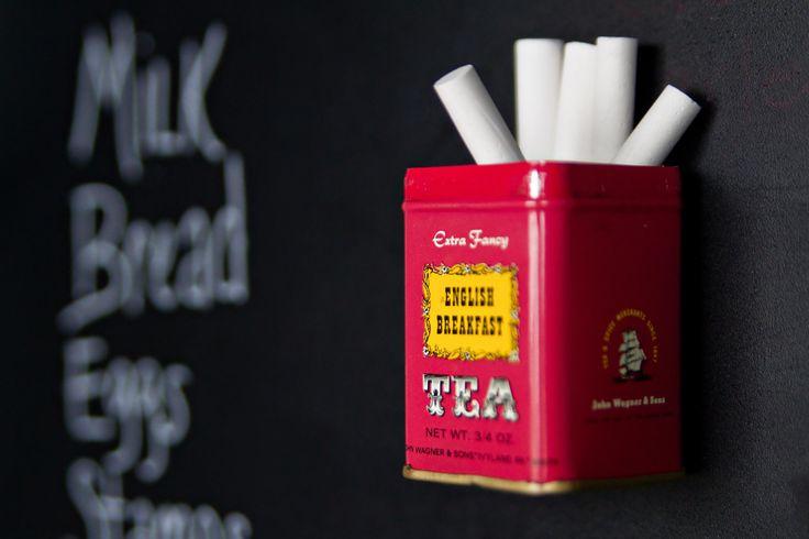 Vintage Tea Tin Magnetic Chalk Holder Pencil Cup Chalkboard. $10.00, via Etsy.