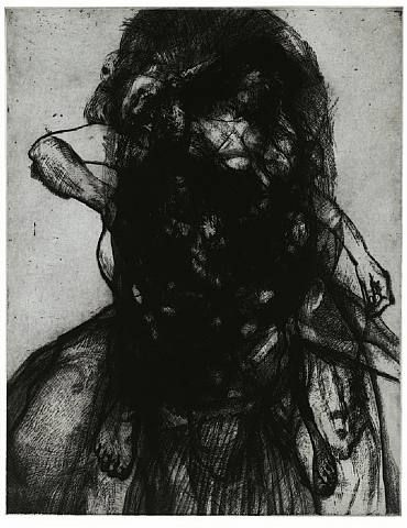 Glenn Brown - Layered Portrait (after Lucian Freud), Etching on paper, 2008