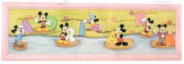 Decoración para niños Cuadro con Letras de Mickey Hoy veremos como hacer un precioso cuadro decorado con letras y figuras en goma eva foamy, del ratón más