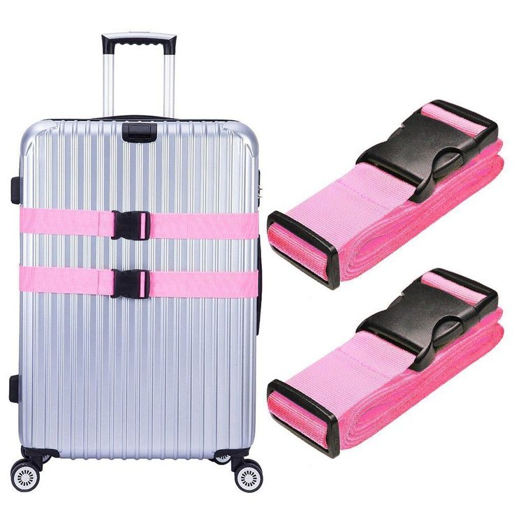 Hibate Adjustable Travel Luggage Straps Suitcase Belts - 200cm 78inch - pink #Hibate