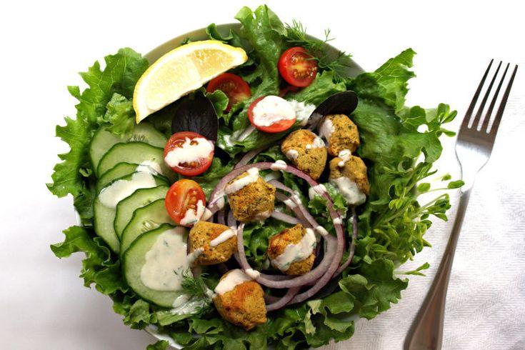 Recipe: Baked Falafel Salad + Two Creamy Dressings